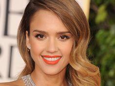 2014  Makeup Trends on makeup....Jessica-Alba-orange-lipstick.  Not a big orange fan with my skin tone.