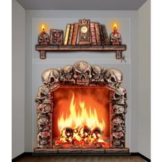 """Halloween Giant Haunted Fireplace Window Decorations: Put a spooky fireplace on any wall!"" -- Totally made me laugh -- if you don't have your own fireplace/bookcase combo, then stick it up on your wall!"