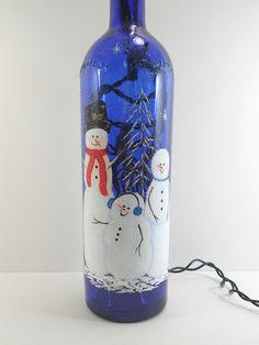 Painted Bottles With Lights Inside   Snowman Lighted Wine Bottle Cobalt Blue Hand Painted 750ml   Flickr ...