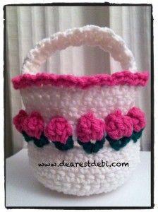 Crochet Flower Basket by Dearest Debi