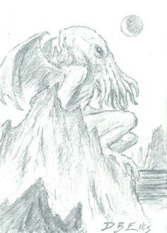 CTHULHU NO 46 original sci fi art, ACEO, lovecraft, cthulhu mythos, horror
