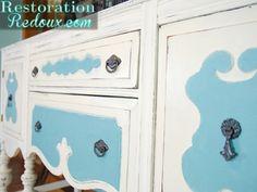 Ivory and Blue Buffet Makeover http://www.restorationredoux.com/?p=6733