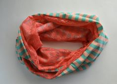 Coral Mint striped infinity scarf, Lace Chunky infinity scarf