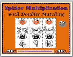 Spider Multiplication Matching Activity / Concentration Game