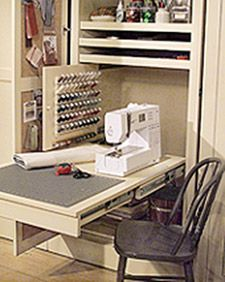 Sewing Area in a closet...Using heavy duty extendable slides there's room to add that table extension shown. When ready to put away remove extension and slide shelf back into cabinet, close the door and walk away. I Like it!!