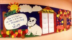 This board featured the school mascot - and some silly puns.