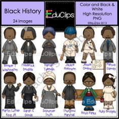 Black History Clip Art from Educlips on TeachersNotebook.com (12 pages)  - Famous African Americans color clip art to celebrate Black History Month.