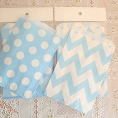 favor bags, party favors, birthday parti, candy bags, blue polka, polka dots, candi, chevron bag, parti idea