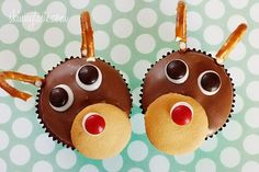 Rudolph the Red Velvet Cupcake - Red velvet yogurt cupcakes topped with a chocolate glaze. These festive reindeer cupcakes are easy to make perfect for a Holiday party! holiday parties, cupcake recipes, cake mixes, holiday recipes, red velvet cupcakes, redvelvet, christma, kid, the holiday