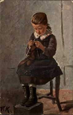 *Girl Knitting German Artist Fried.