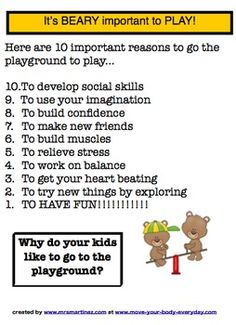 Why play at the playground? here 10 reasons...print for FREE!