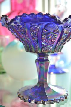 carnival glass, glasses, jewel tones, carnivals, depress glass, color glass, carniv glass, glass compot, cut glass