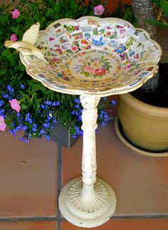 Mosaic Cast Iron Shabby Birdbath with Vintage China