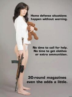 Home defense situations happen without warning. No time to call for help. No time to get clothes or extra ammunition. 30-round magazines even the odds a little. #SecondAmendment