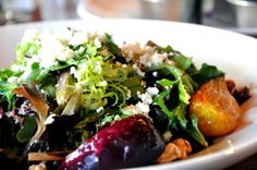 Warm Beet Salad with Walnuts, Goat's Cheese & Champagne Vinaigrette - The Sandbar Seafood Restaurant, Vancouver, Canada