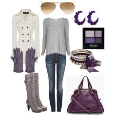 """Gray + Purple Winter Outfit"" by natalie-meylan on Polyvore"