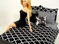 Black and White Barbie Doll Bedding by ElleLaLaBoutique on Etsy