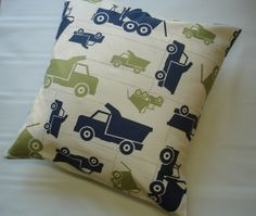 Premier Prints Blue  Trucks Pillow Cover- 16x16 inches- Boys Throw Pillows  - 16 x 16  Decorative Throw Pillow Covers  Trucks Accent Nursery. $15.00, via Etsy.
