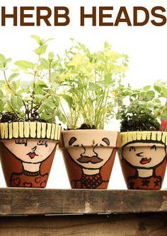 awesom kid, stuff, herbs, enjoy creat, garden idea, craft project, kids, outdoor diy, herb head