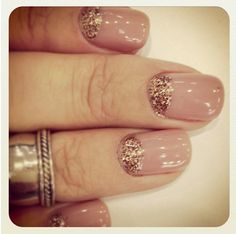 nude nails with glitter -