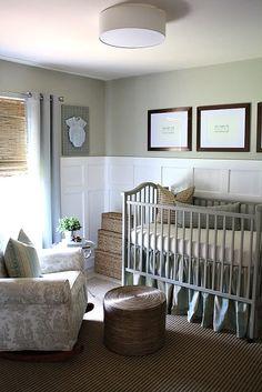 soft gray baby nursery. Board and batten nursery.