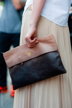 two tone leather clutch.
