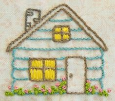 embroidered cabin.  Pretty by Hand. Hand Embroidered Quilt Blocks, House Quilt Block Pattern, House Block Quilts, Log Cabins, Hand Embroidered Quilts, Embroidery Patterns Free, Cabin Embroidery, Log Cabin Quilts, Logs Cabins