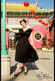 fashion, vegas dresses, cloth, bridesmaid dresses, little black dresses, sandra dress, pretti, black roses, vintage style