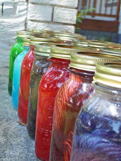 dyeing wool yarn in jars in the sun. Nice!