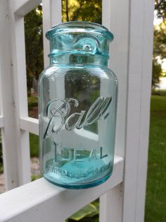 1923 1933 Cornflower Blue Ball Ideal Jar with Imprinted by Andie83, $14.00