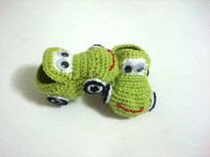 baby shoes Green crochet Cars Baby Booties baby by AnatoliaDreams, $20,00