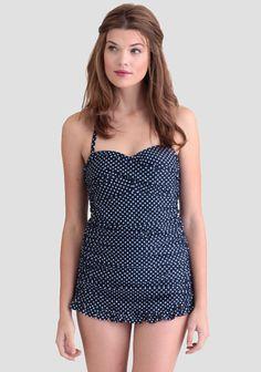 Yvonne Polka Dot One-Piece Swimsuit by: ShopRuche.com