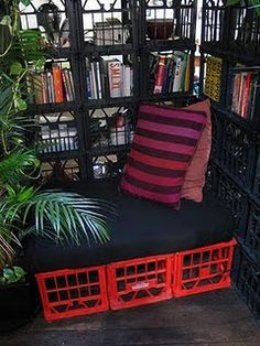Love the idea of a milk crate bench. :)