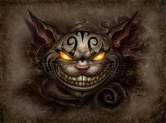 evil cheshire cat alice in wonderland fan art illustration character design