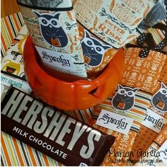 Hershey Candy Bar Wrappers!! Everyone LOVES chocolate right? What fun it was to dress up candy bars for Halloween in this snappy 3-D wrap!  by Marian Garcia: www.StudioMbyMarian.blogspot.com