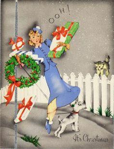 RARE c1940 Art Deco XMAS CARD Pretty Girl CAT Fox Terrier DOG Balancing Act!