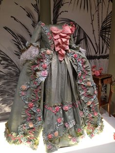 Isabelle de Borchgrave floral paper dress in gray and pink