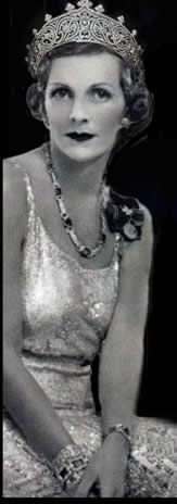 Countess Mountbatten (nee Edwina Ashley), dressed for the Coronation of 1937, in Art Deco jewellery, photographed by Yevonde