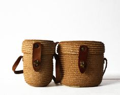 Set of two vintage MINI WOVEN Baskets with leather by RueDesLouves, $61.00