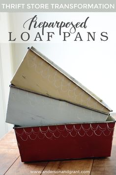 metal loaf pans repurposed into decorative organizing bins
