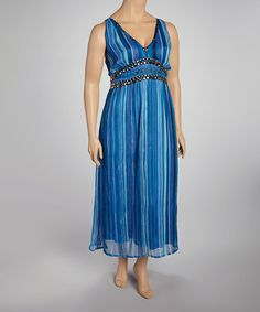 Take a look at this Turquoise Embellished Dress - Plus by Life and Style Fashions on #zulily today!