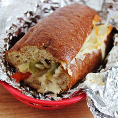 Oven Baked Chicken Cheesesteak Sandwiches - from homecookingmemories.com