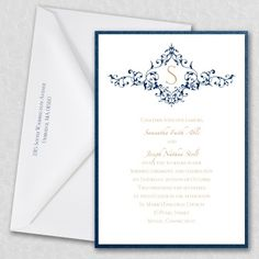 Blue and White Wedding Ideas - Thermo French Floret Layered Invitation | Occasions In Print, LLC (Invitation Link - http://occasionsinprint.carlsoncraft.com/Wedding/Wedding-Invitations/2414-FBN6117CT-Thermo-French-Floret-Layered-Invitation.pro)