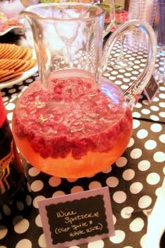 Moscato Spritzer... moscato, sprite, & raspberries *Made these for Suz's Bachelorette Party DELISH*