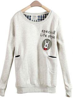 Gray Rabbit Pocket Round Neck Long-sleeved Sweatshirt$36.00