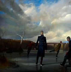 Randall Exon Skaters on the Brandywine Oil Painting 60x60in 2009