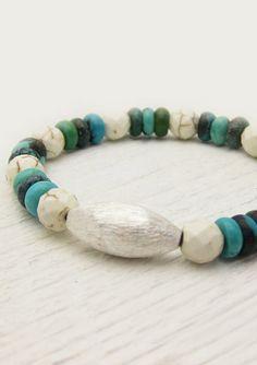 Natural Turquoise Boho Sterling Bracelet / White