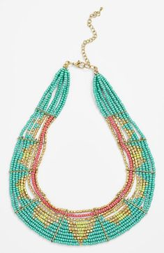 So lovely: Turquoise and gold beaded statement necklace.