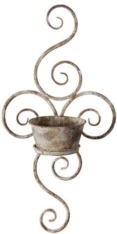 plant holders, fenc, swirl, sconc, flower pots, metal wall decor ideas garden, backyard, patio wall decor, wall planters