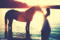 photo horse and girl
